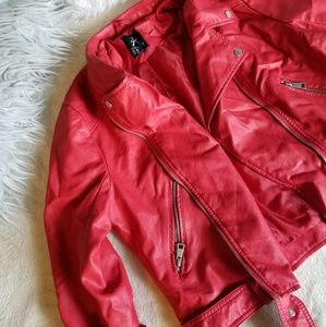 Cherry Red Atmosphere Leather Jacket